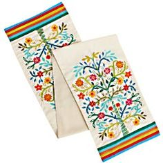 Embroidered Bloom Tree Table Runner   6-ft embroidered runner from India features stitched rainbow-striped hems and twin multicolored trees.    Pier 1 Imports
