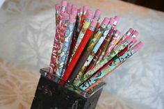 beautiful chiyogami covered pencils