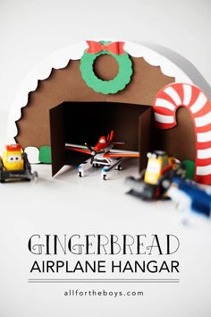 Gingerbread Airplane hanger from all for the boys - This is a fun way to recycle some of that holiday heap of cardboard.