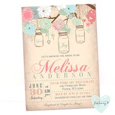 Bridal Shower Invitation - Mason Jar Invitation - Coral Peach Mint - Vintage Peach Background - Typography - Printable No.43 by AfterFebruary on Etsy