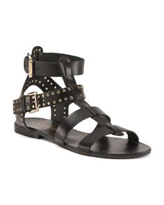 Made+In+Italy+Gold+Studs+Leather+Gladiator+Sandals