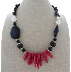 Collana di corallo rosso, collana di perle barocche, collana, collana di onice nero, collana di perline, girocollo in uk, gemma gioielli, regalo per lei