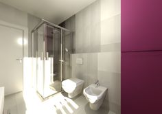 Modern bathroom in Domus3D Antares, tiles SAIME kaleido