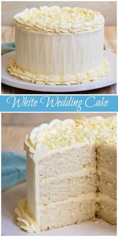 Easy White Wedding Cake recipe from RecipeGirl.com #easy #white #wedding #cake #recipe #RecipeGirl via @recipegirl