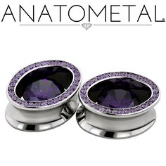 "3/4"" Super Ellipse Eyelets in ASTM F-138 stainless steel; synthetic amethyst gemstones"