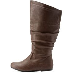 Charlotte Russe Brown Flat Ruched Mid-Calf Boots by Charlotte Russe at... ($43) ❤ liked on Polyvore featuring shoes, boots, brown, embellished boots, round cap, twisted boots, rubber sole boots and brown flat boots