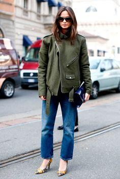 calça jeans e parka