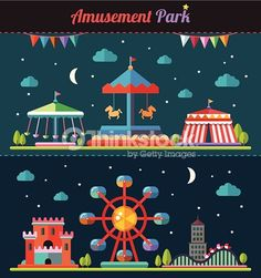 ベクトルアート : Set of flat design composition with amusement park elements
