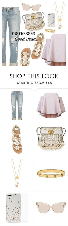 """""""Tear it Up: Distressed Denim"""" by dressedbyrose ❤ liked on Polyvore featuring OneTeaspoon, Milly, Tory Burch, Kate Spade, Linda Farrow, distresseddenim and polyvoreeditorial"""