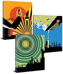 """Atlas Shrugged in 3 Part Art Deco Series (14""""x16"""" Gallery Wrapped Canvas Paintings) - IN STOCK (Ships immediately)"""