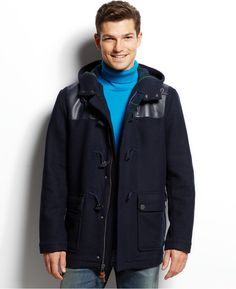 $449, Navy Duffle Coat: Tommy Hilfiger Darrel Duffle Coat. Sold by Macy's. Click for more info: https://lookastic.com/men/shop_items/214723/redirect