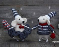 Needle felted grey mouse Weight lifting Birthday gift Kid