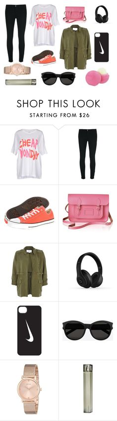 """no name #2"" by luiseangl ❤ liked on Polyvore featuring Cheap Monday, J Brand, Converse, The Cambridge Satchel Company, River Island, Beats by Dr. Dre, NIKE, Yves Saint Laurent, GUESS and Eos"