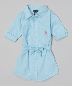 Another great find on #zulily! Surf Blue Stripe Belted Button-Up Dress - Girls #zulilyfinds