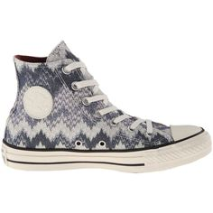 Converse Chuck Taylor All Star Hi Missoni - Cotton Lurex Athletic... (7500 ALL) ❤ liked on Polyvore featuring shoes, sneakers, converse high tops, high top shoes, grey high tops, grey high top sneakers and sparkle sneakers