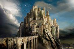 The Artwork of Kieran Belshaw - King Arthur - Camelot Fantasy City, Fantasy Castle, Fantasy Places, Medieval World, Medieval Castle, Medieval Fantasy, King Arthur's Castle, Camelot Castle, King Arthur Legend