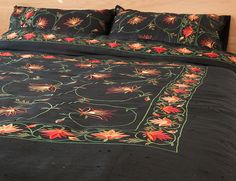 A luxurious, black silk duvet cover from India with floral embroidery in red and orange. Exclusive to Natural Bed Company. Bedroom Black, Black Bedding, Linen Bedding, Black Bedrooms, Bed Linen, Bed Company, Black Duvet Cover, Natural Bedding, Bedroom Styles