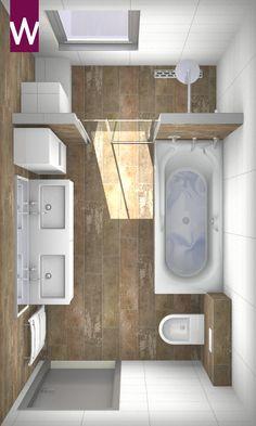 Indeling badkamer - Porte coulissante à la place du wc et wc à la place de la baignoire. Douche à gauche au lieu de droite. 1 évier. Emplacement porte-serviettes ??