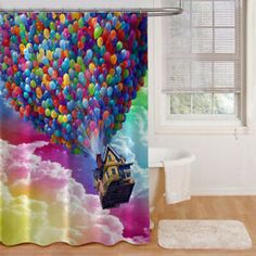#rainbowcloud #flyingballoon #disney #upmovie Custom Shower Curtains, Fabric Shower Curtains, Flying Balloon, Disney Up, Rainbow Cloud, Balloons, Clouds, Color, Design