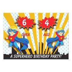 Twins Birthday Party Invitations Boys Superhero Birthday Card
