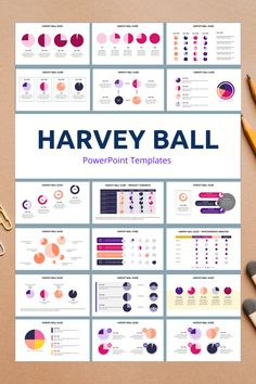 Harvey Ball PowerPoint Slide Templates - creative design business presentation templates in PowerPoint. Ready template, easy to edit. #HarveyBall #PowerPoint #Design #Creative #Presentation #Slide #Infographic #Template Powerpoint Slide Templates, Powerpoint Tips, Keynote Template, Business Presentation Templates, Presentation Design, Presentation Slides, Infographics, Data Visualization, Tips