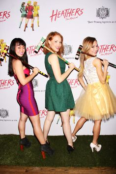 Elle McLemore, Alice Lee, and Jessica Keenan Wynn attend the off Broadway opening night of 'Heathers The Musical' at New World Stages on March 31, 2014 in New York City.