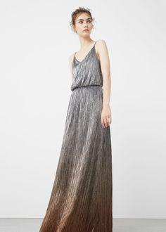 Abito lungo metallizzato - Vestiti da Donna | MANGO Italia