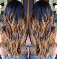 black to caramel ombre long hair