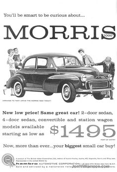 Research Magazine Advertisements. The Best Resource on the Net of Vintage Ads! Advertising Signs, Vintage Advertisements, Vintage Ads, Morris Oxford, Austin Cars, Auto Retro, Morris Minor, Import Cars, Small Cars