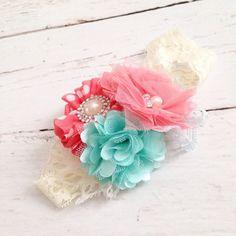 Coral aqua headband // chiffon tulle pearl lace headband // baby girl headband
