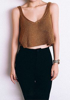 knit camel sweater tank #Style
