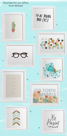 """I spot my """"To be young and free"""" print in there :)  decorating our office with favorites from Minted.com"""