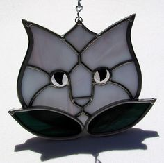 Lavender Stained Class Tulip Kitty Cat Suncatcher