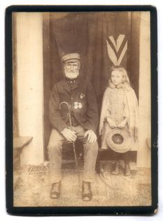 Soldiers of the Queen - Crimean War Veteran and Grand Daughter ca. 1890s