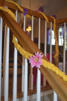 Rapunzel braid for Tangled party I made from vinyl tablecloths.  So easy!