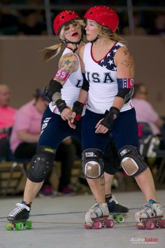 Suzy Hotrod and Jackie Daniels -- Team USA. I can't believe the camera didn't break due to ALL THE AWESOME. // Roller Derby