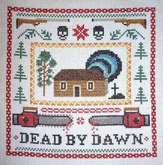 Ahhh!!! I need to make this! Evil Dead Cross-Stitch Sampler