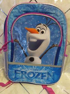 """Disney's Frozen OLAF 16"""" Blue Sparkle Snowflake Backpack NEW with Tags #GlobalDesignConcepts"""