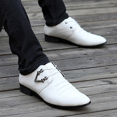 Fashionable Lace-Up and Solid Color Design Formal Shoes For Men, WHITE, 43 in Men's Shoes | DressLily.com