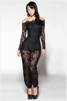 ba3b0c3a09 Sexy Lady Black Lace Floral Night Club Party Plus SZ Long Sleeve Jumpsuit  Romper in Clothing