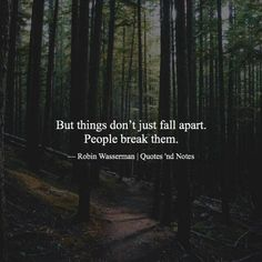Things dont just fall apart. People break them.