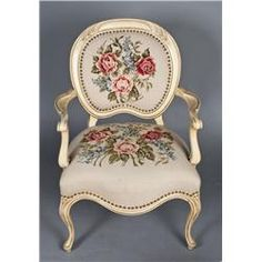French Carved Wood & Needlepoint Chair & Ottoman