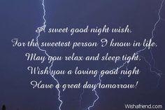 A sweet good night wish,