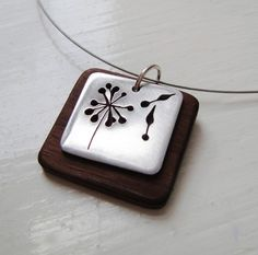 Dandelion Square Wood Neckwire Necklace - $58.00