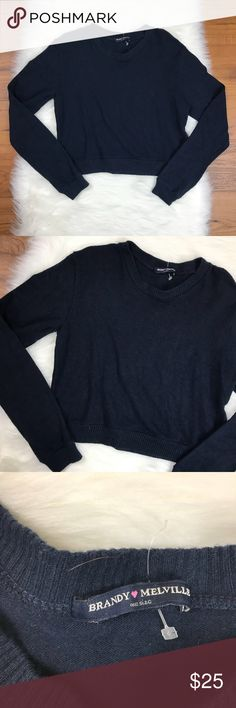 "Brandy Melville Navy Wool Blend Crop Sweater Brandy Melville Navy Blue Long Sleeve Wool Blend Crop Sweater. One Size. Armpit to armpit is about 16"". Armpit to the end of the sleeve is about 18"". The length of the sweater is about 16.5"". Brandy Melville Sweaters Crew & Scoop Necks"