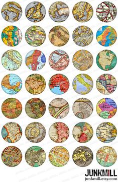 MINI MAPS  Digital Collage Sheet | Instant Download Vintage Maps of France, Italy, UK, Scandinavia & More by JUNKMILL, $3.50