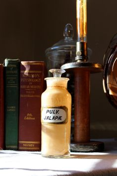 1800s Glass Apothecary Bottle PULV. JALAPAE  by StonehillDesign