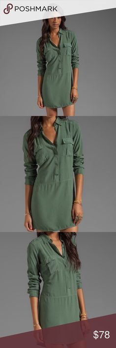 Splendid Shirt Dress in Camo Green Camo green, long sleeve shirt dress from Splendid. Features accented waist, shoulder lapels, button up closure, two front breast pockets, and buttoned wrist cuffs. Excellent condition, like new. X-small. Additional photos coming soon! Splendid Dresses Long Sleeve