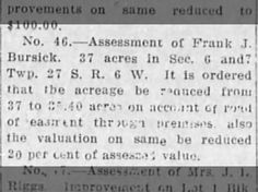 Frank J Bursik acreage 1914