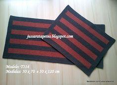 Jussara tapetes: Jogo de tapetes...capachos (telha) - T114 (com PAP...